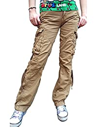 Women's Casual Cargo Pants Solid Military Army Styles...