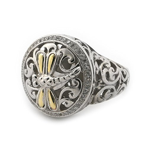 18k Yellow Gold and Sterling Silver White Sapphire Filigree Swirl Dragonfly Signet Ring, Size, 7 by Phillip Gavriel