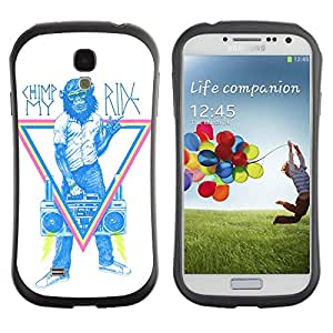 Hybrid Anti-Shock Bumper Case for Samsung Galaxy S4 / Monkey Hipster Sign