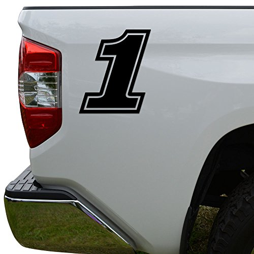 (Racing Race Number 1 One Style 15 Die Cut Vinyl Decal Sticker For Go Kart Car Truck Motorcycle Window Bumper Wall Decor Size- [6 inch/15 cm] Tall Color- Matte Black)