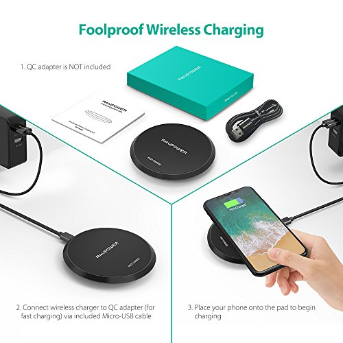 Wireless Charger RAVPower Standard QI Wireless Charging Pad for iPhone X / 8 / 8 Plus 10W Fast Wireless Charge for Samsung Galaxy S9+/ S9 / S8 / Note 8 and All Qi-Enabled Phones (Adapter No Included)