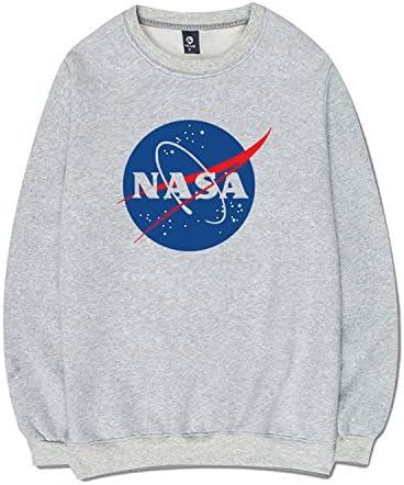 CORIRESHA - Sudadera con capucha y bolsillo canguro con estampado de logotipo de la NASA extra-large 3_Gris