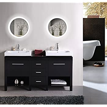 Krugg LED Bathroom Round Mirror 22 Inch Diameter | Lighted Vanity Mirror Dimmer & Defogger | Silver Backed Glass | |