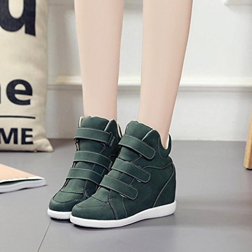 Hook Hidden Boots Wedge Green Leather Heel Sneakers High Womens Top SUKEQ Sport amp; Ankle Loop AqwX0SX