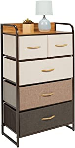 mDesign Tall Dresser Storage Chest - Sturdy Steel Frame, Wood Top & Handles, Easy Pull Fabric Bins, Organizer Unit for Bedroom, Entryway, Closet, Textured Print, 5 Drawers - Multi-Color/Espresso Brown