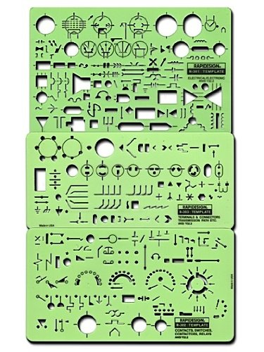 Rapidesign Electrical/Electronics Symbol Templates Set, 3 Templates (R300) by RAPIDESIGN