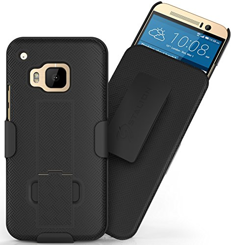 HTC One M9 Holster Belt Clip Case: Stalion Secure Holster Shell & Kickstand Combo (Jet Black) 180° Degree Rotating Locking Swivel + Shockproof Protection (Not for HTC One M7, M8 or E8)