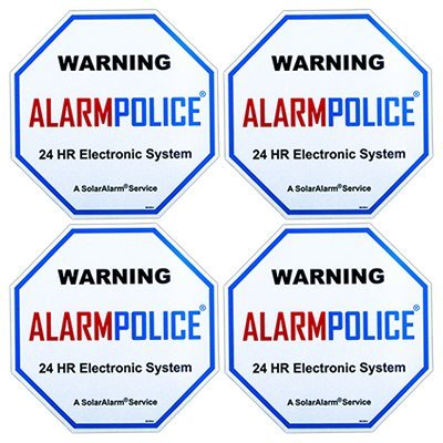"PoliceAlert™ SIGNS DECALS - 4 Pack Commercial & Home 4"" x 4"" Security, Surveillance Video CCTV Warning! Deterrence Decals (Back Adhesive)"