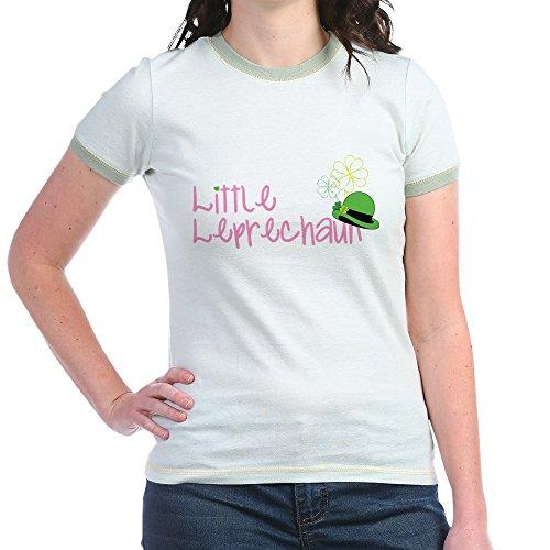 CafePress - Little Leprechaun - Jr. Ringer T-Shirt, Slim Fit 100% Cotton Ringed Shirt Mint/Avocado ()