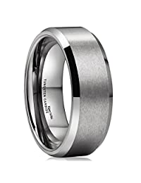 King Will BASIC Unisex 8mm Tungsten Carbide Matte Polished Finish Wedding Engagement Band Ring