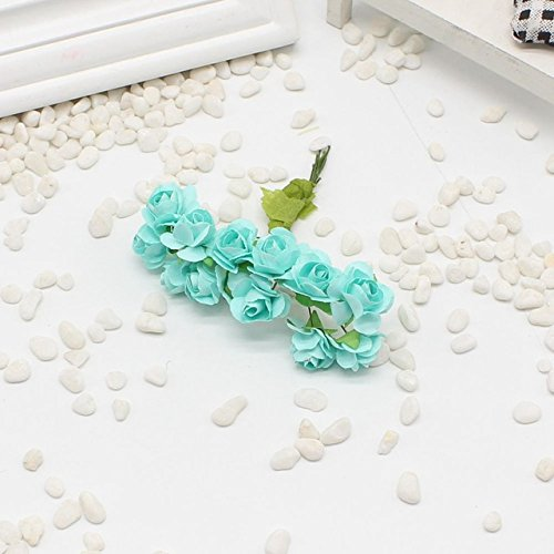 a68ebd7b08e9 Amazon.com   12 pcs Mini Rose Paper Handmade Artificial Flower Bouquet  Wedding Decoration Wreath DIY Gift Scrap booking Craft Flower False    Garden   ...