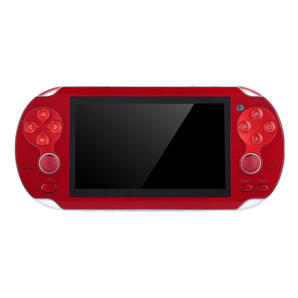 Handheld Retro Game Console,Leezo 1PC Rechargeable 4.3inch 8GB Video Game Console Free 100+ Games MP4 MP5 Players With Dual Joystick Camera Classic Portable Retro Game Player - Red