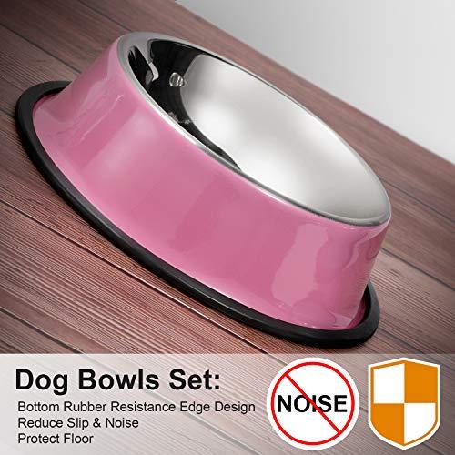 WERFORU2 Pack Edelstahl Hundenapf für kleine/mittlere/große Hunde-, Katzen-, Tiernahrungs- / Wasserschalen mit Gummibasis Reduzieren Sie das Verschütten