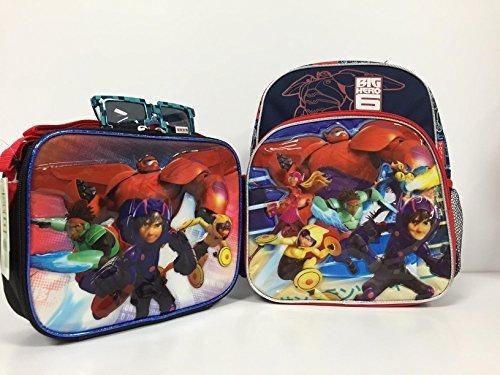 "Disney Big Hero 6 Baymax Hiro Combo - 12"" Toddler School Backpack, Insulated Lunch Bag and Hero Sunglasses Set"
