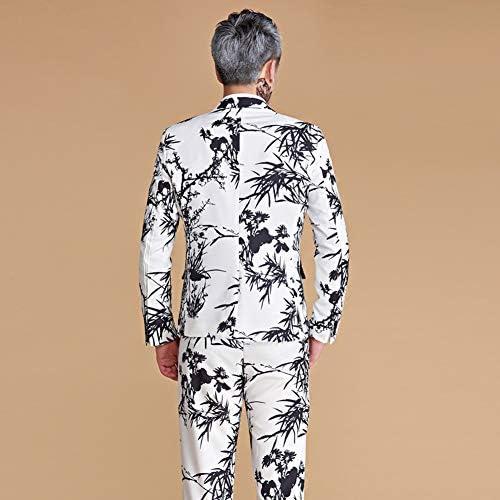 スーツ メンス ビジネススーツ スーツセットアップ 花柄上下セットスーツ 中国風 カジュアル カッコイイドレススーツ 演出服 ステージ衣装 メンズ 舞台 プリント 忘年会 新年会 学園祭 パーティー 司会者