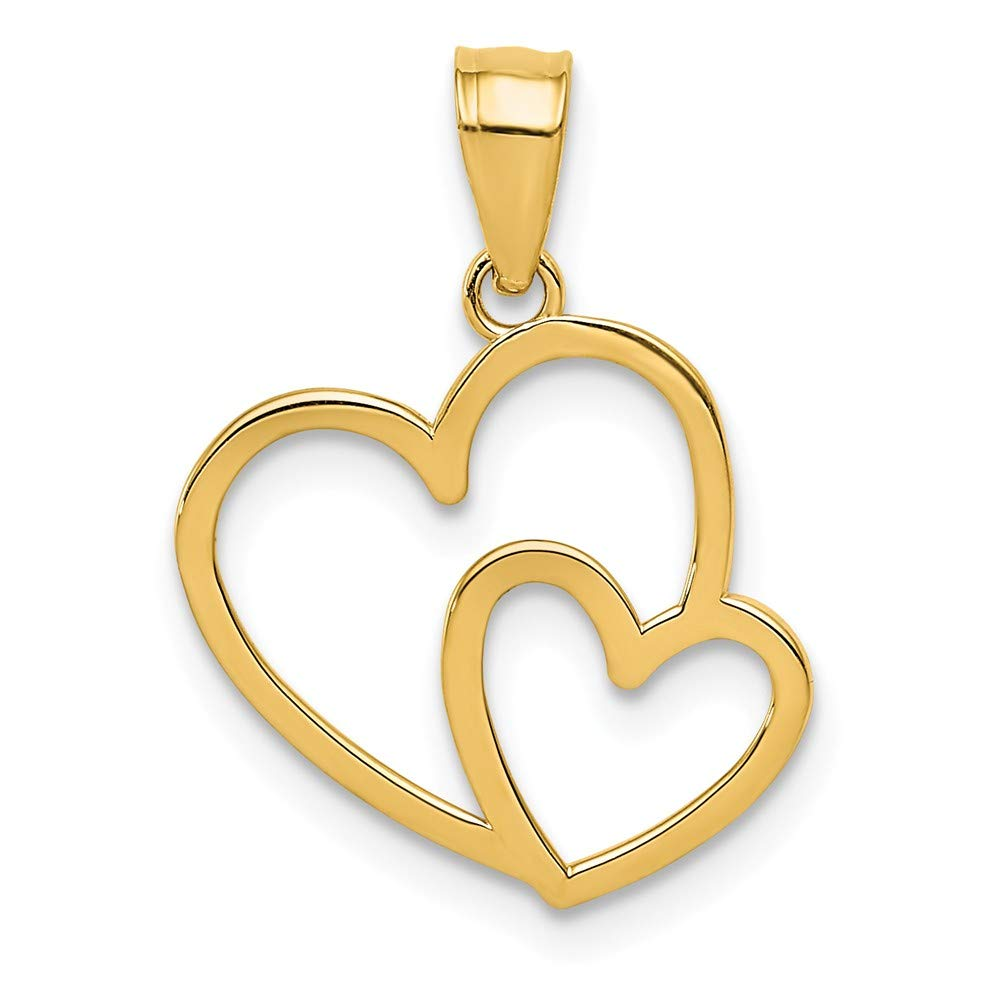 FB Jewels Solid 14K Yellow Gold Double Heart Charm
