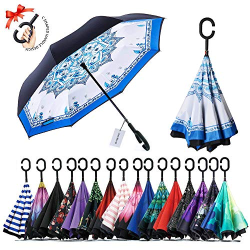 - UmbWorld Inverted Umbrella, Double Layer Upside Down Reverse Umbrella for Car and Outdoor, with UV Protection, and C-Shaped Handle Big Straight Umbrella (Blue and White Porcelain)