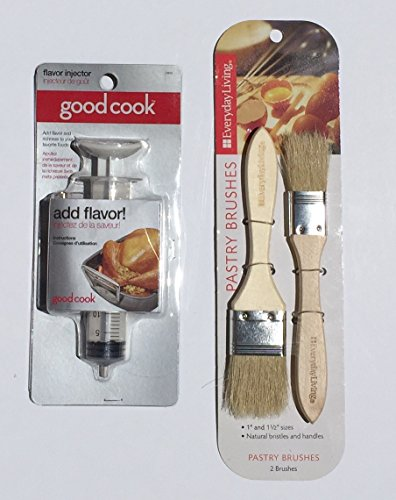 Turkey Basting Bundle: Good Cook Flavor Injector Everyday Living Natural Bristle Basting/Pastry Brushes Perfect for Thanksgiving. (2 Items)