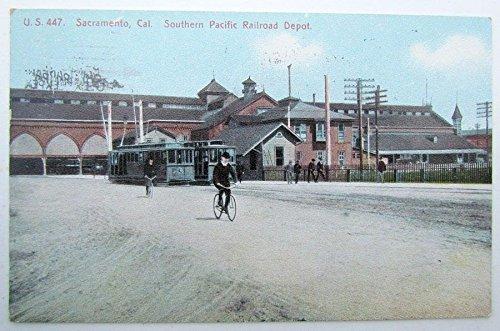 - VINTAGE 1915 POSTCARD SACRAMENTO CALIFORNIA SOUTHERN PACIFIC RAILROAD DEPOT