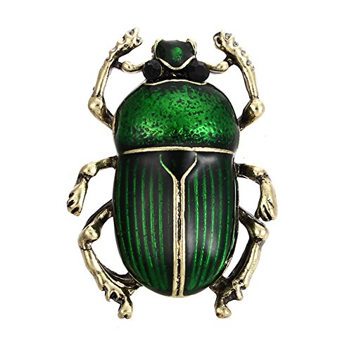 Acamifashion Vintage Lady Beetle Enamel Animal Insect Brooch Pin Women Scarf Party Jewelry - Green ()