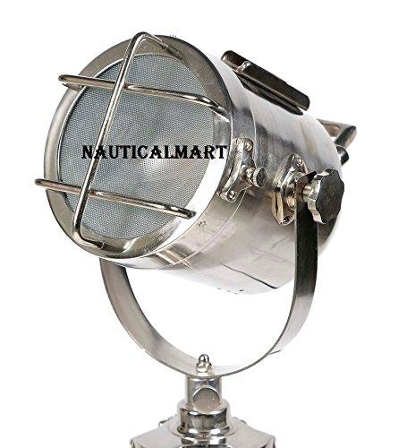 Vintage Movie Cinema Style Marical Silver Metal Tripod Searchlight By Nauticalmart