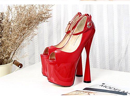 Caviglia Tallone Rosso Toe Cinturino Doppio Classe Nuovo Pompe Jane Lylife Mary Mandorla Donne O8gEwqxH