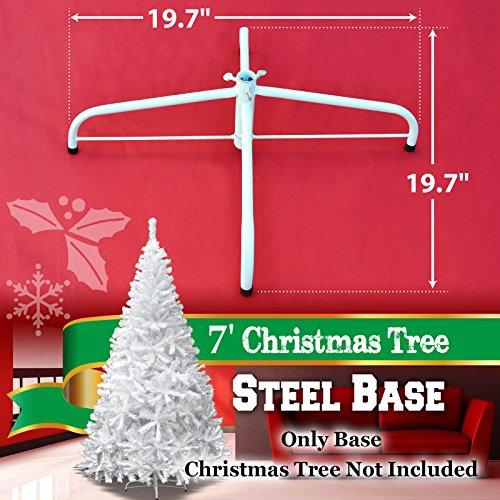 Steel Base Metal Stand for 5/6/7/7.5ft Christmas Tree Green Christmas Decor (7', White) by BenefitUSA (Image #1)
