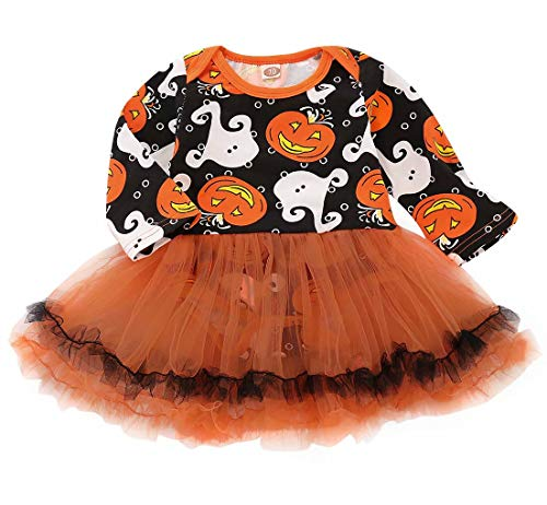 Halloween Pumpkin Baby Girls Ghost Print Romper Long Sleeve Tulle Ruffle Tutu Dress Size 3-6 Months/Tag70 (Orange)
