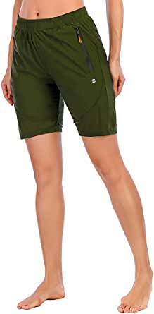 Lianshp Womens Shorts for Summer Quick Dry Hiking Fishing Running Athletic Sports Lightweight Shorts with Zipper Pockets