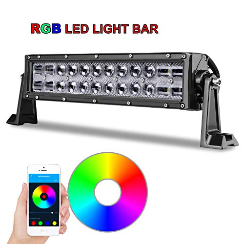 RGB LED Light Bar, 14 inch AKD Part 5D Multicolor Off Road LED Bar with Wiring Harness CREE Bluetooth Control Jeep LED Flood Spot Combo Light RGB For Truck ATV UTV SUV Marine Motorcycle