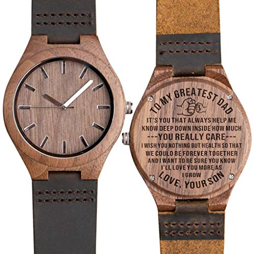 (Engraved Wooden Watches for Dad from Son - Engraved 'to My Dad Love Son' Personalized Gift from Son to Dad Wood Gift Ideas Birthday Gift for Father Walnut)