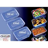 650ml Microwave Plastic Heavy Duty SATCO Containers + Lids x 25