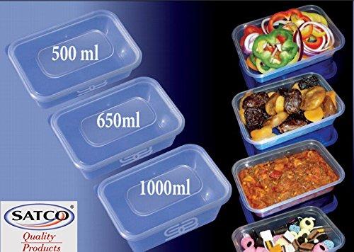 Satco - Fiambreras de plástico resistente, 650 ml, aptas ...