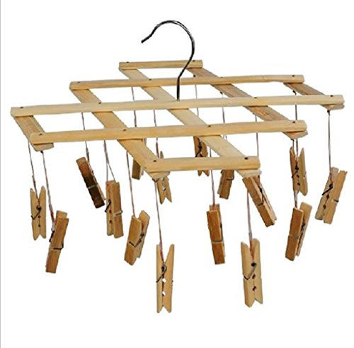 GYMNLJY Magic Hangers Multifunction Bamboo Folding Drying rack 16 clip Windproof Underwear Socks hanging clamps£¨pack of 2£ , 16 clamps