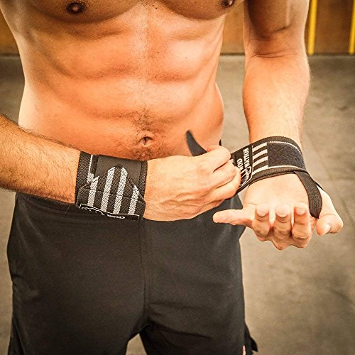 WOD Nation Wrist Wraps by Wrist Support Straps (12'', 18'' or 24'') - Fits Both Men & Women - Strength Training, Weightlifting, Powerlifting - Lift Heavier Weight (18 Inch - Black/Grey) by WOD Nation (Image #4)