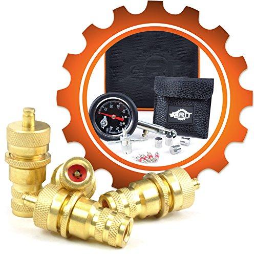 Grit Performance Automatic Tire Deflators with 80 PSI Tire Pressure Gauge + Valve Repair Kit & Custom Foam Case | Air Down Tire Deflator Tool Kit for Off Road Tires, Jeep, Truck, ATV, 4x4 Sand & Rock