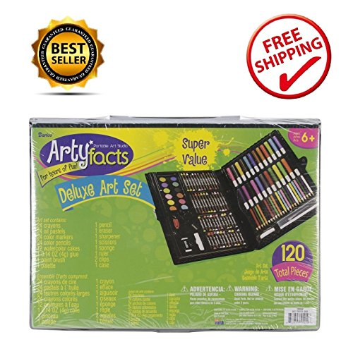 Darice 120-Piece Deluxe Art Set Drawing Supplies Sets for Kids Personalized