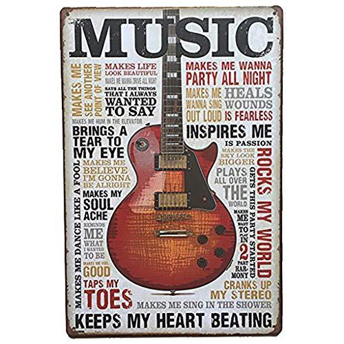 AYZ - Music Guitar - Vintage Bar Metal Tin Sign Poster Wall Sticker Art Painting Pub Home Decorations AHD318V01