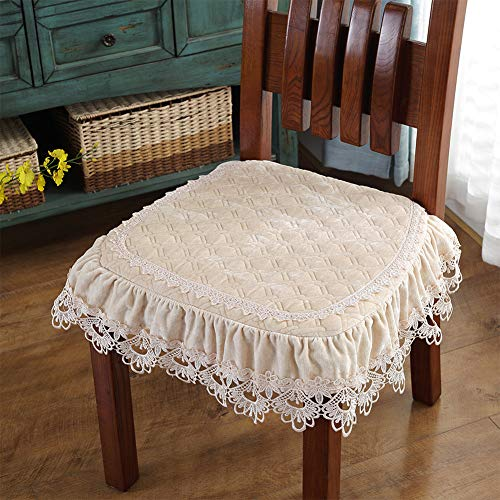 chair pad Soft Chair Cushions Lace Dining Anti-Skid Breathable Warmth Plush Cushions with Ties,Set of 4 (Beige) (Pads Embroidered Chair)