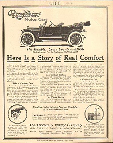 1912 Rambler Cross Country Kenosha WI Auto Ad Pall Mall - Mall Kenosha