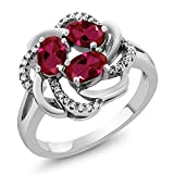 925 Sterling Silver Red Created Ruby Flower Blossom Ring 1.87 Ctw Oval (Size 5)