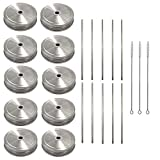 10 Pack Mason Jar Stainless Steel Lids with Straw Hole Regular Mouth + 10 Pack Straight Reusable Straws + 3 Straw Cleaning Brushes