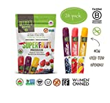 DeeBee's 100% Organics Super Fruit Freezie Frozen Juice Bars - Grape, Strawberry and Tropical Fruit Popsicles - Nut, Gluten and Dairy-Free, No Added Sugars - Vegan, Kosher and Non-GMO (24 Pack)