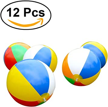 TOYMYTOY 12 Pack Niños inflables Bolas de Playa Rainbow Ball para ...