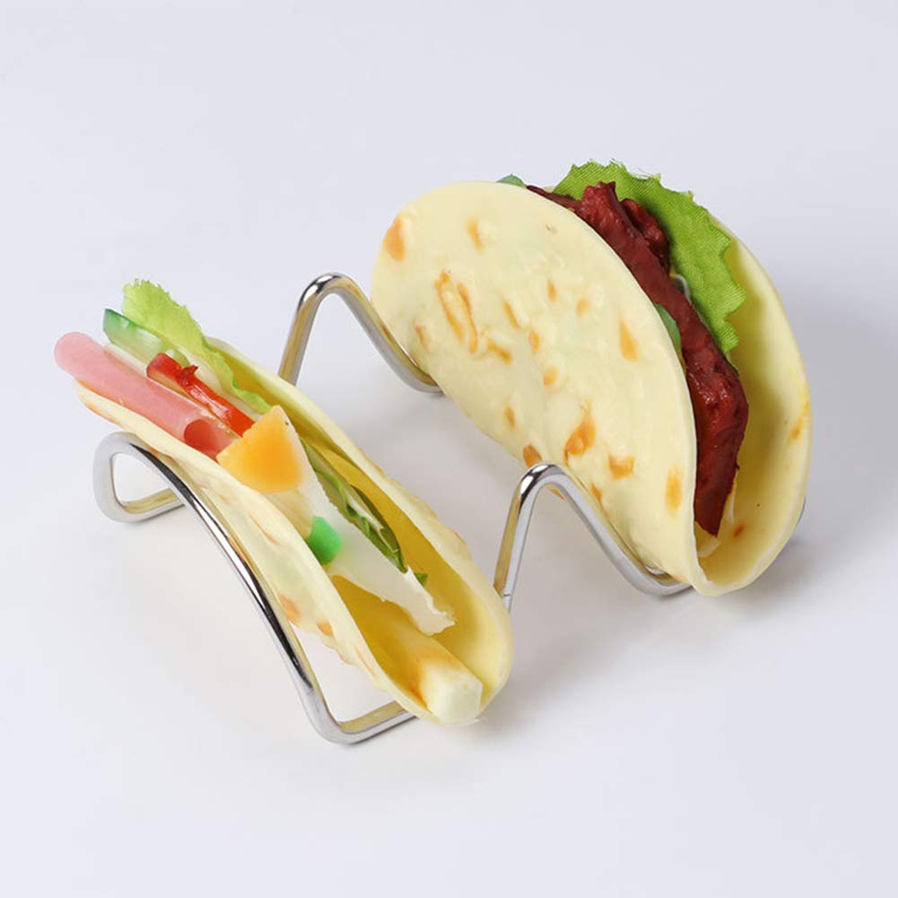 Taco Holder Mini Stainless Steel Display Food Stand Kitchen Storage Portable Rack(2 slots2Slots) by EUGNN (Image #6)