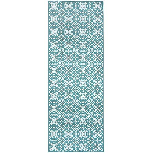 RUGGABLE Washable Stain Resistant Indoor/Outdoor, Kids, Pets, and Dog Friendly Runner Rug 2.5'x7' Floral Tiles Aqua Blue