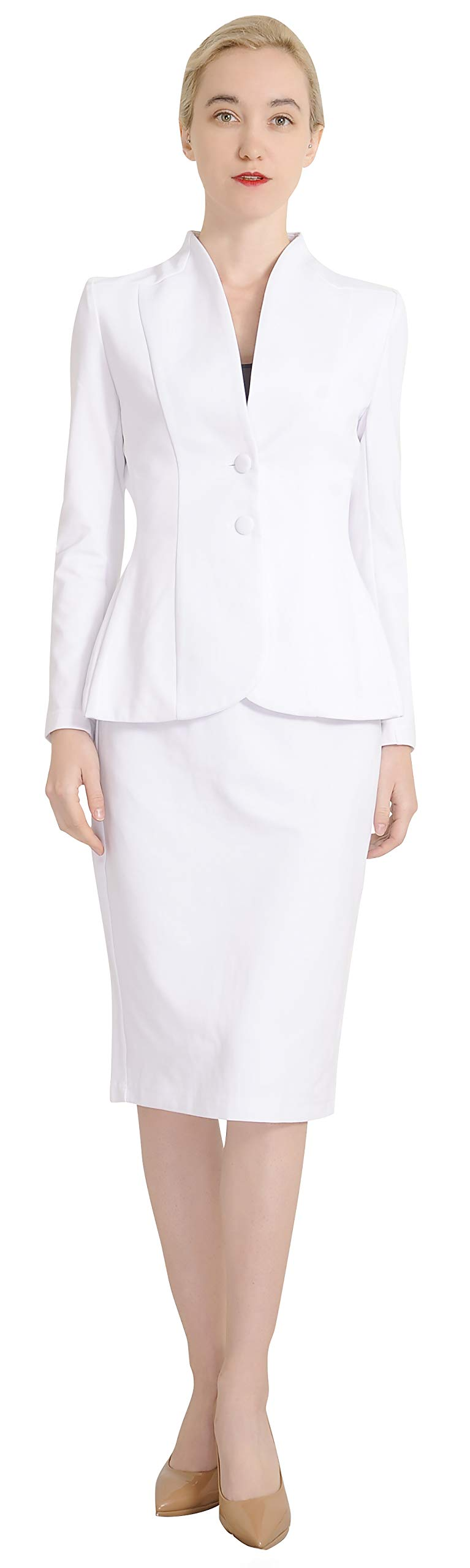 Marycrafts Women's Formal Office Business Work Jacket Skirt Suit Set 20 Off White