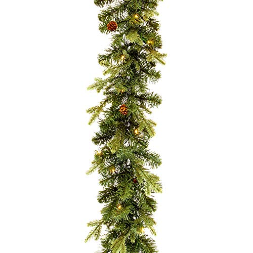 NOMA 9 Ft Pre-Lit Garland | Pine Christmas Garland with Lights & Mini Pinecones | 50 Warm White Battery Operated LED Bulbs | Indoor Christmas Decoration (White Garland Pre Christmas Lit)