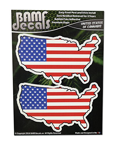 Bamfdecals Original United States Of Cannabis Us Flag Country Outline Slaps   Includes 2 Medium Size Printed Stickers Two Pack