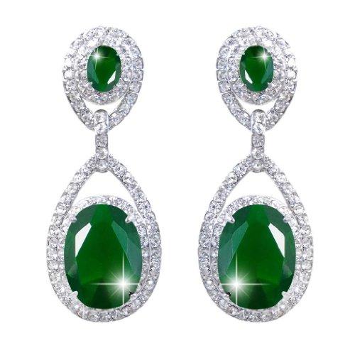 Ever Faith - Ton d'Argent Gracieux Ovale Pendant Boucle d'Oreilles Vert Zircon Cristal Autrichien N02485-2